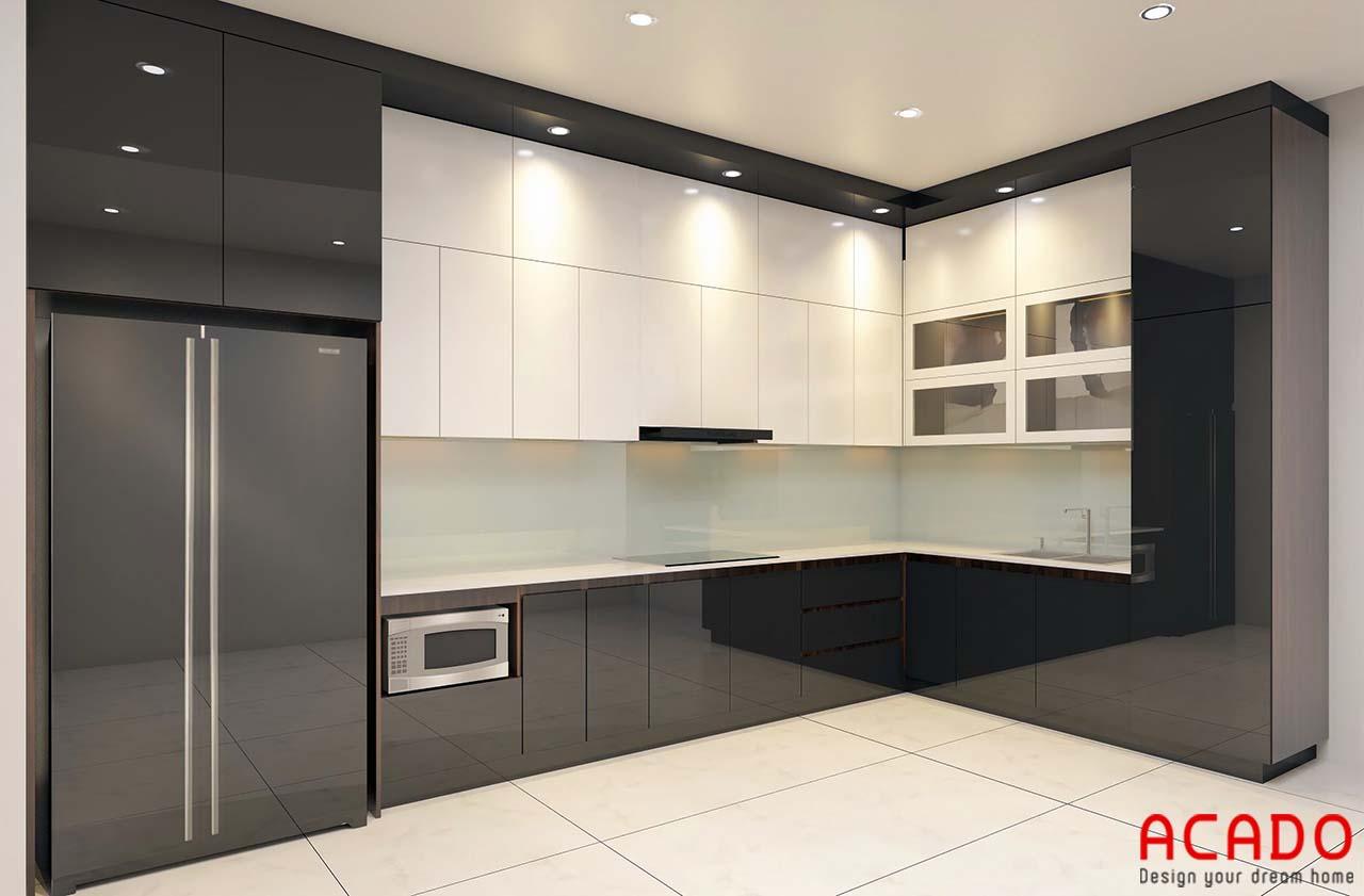 Tủ bếp Acrylic sát trần màu trắng và đen kết hợp mang đến không gian bếp hiện đại, trẻ trung