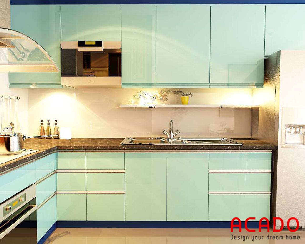 Tủ bếp Acrylic bóng gương sang trọng - hiện đại