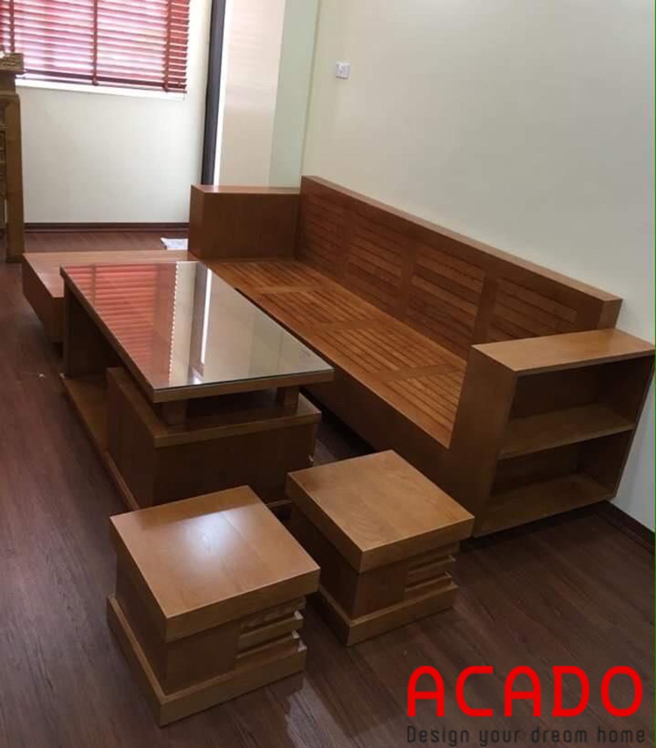 Sofa gỗ sồi Nga - công trình Aacdo thi công tại Liên Hà - Hà Đông