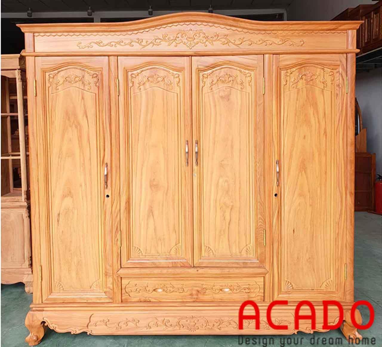 Tủ quần áo gỗ Gõ cao cấp - nội thất Aacdo
