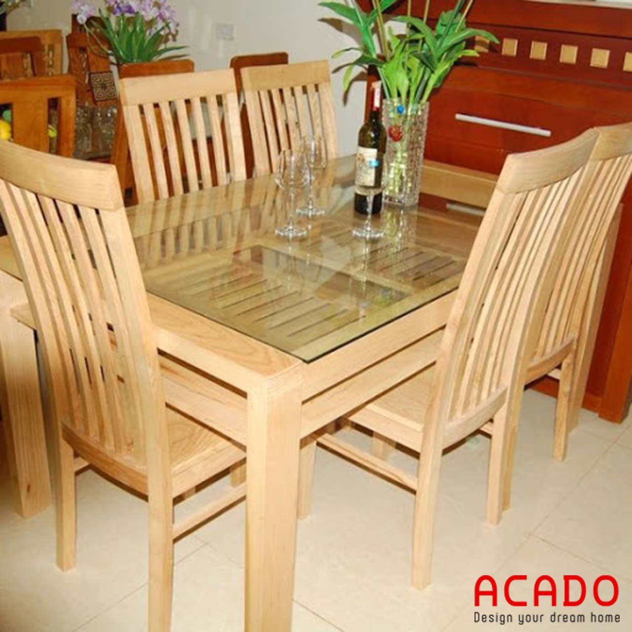 Bàn ăn gỗ sồi nga màu vàng nhạt trẻ trung - nội thất Acado