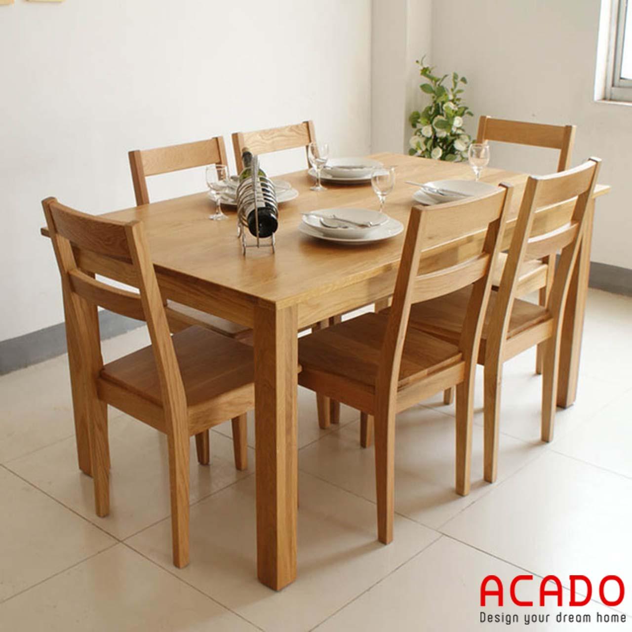 Bàn ăn gỗ sồi Nga 6 chỗ ngồi sang trọng, độ bền cao
