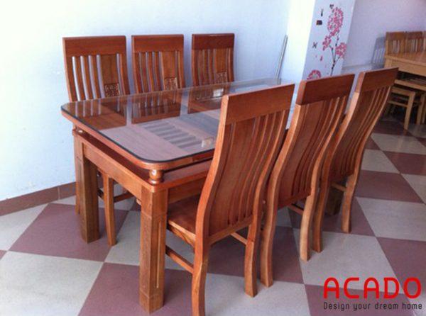 Bàn ăn gỗ xoan đào tự nhiên - nội thất Acado