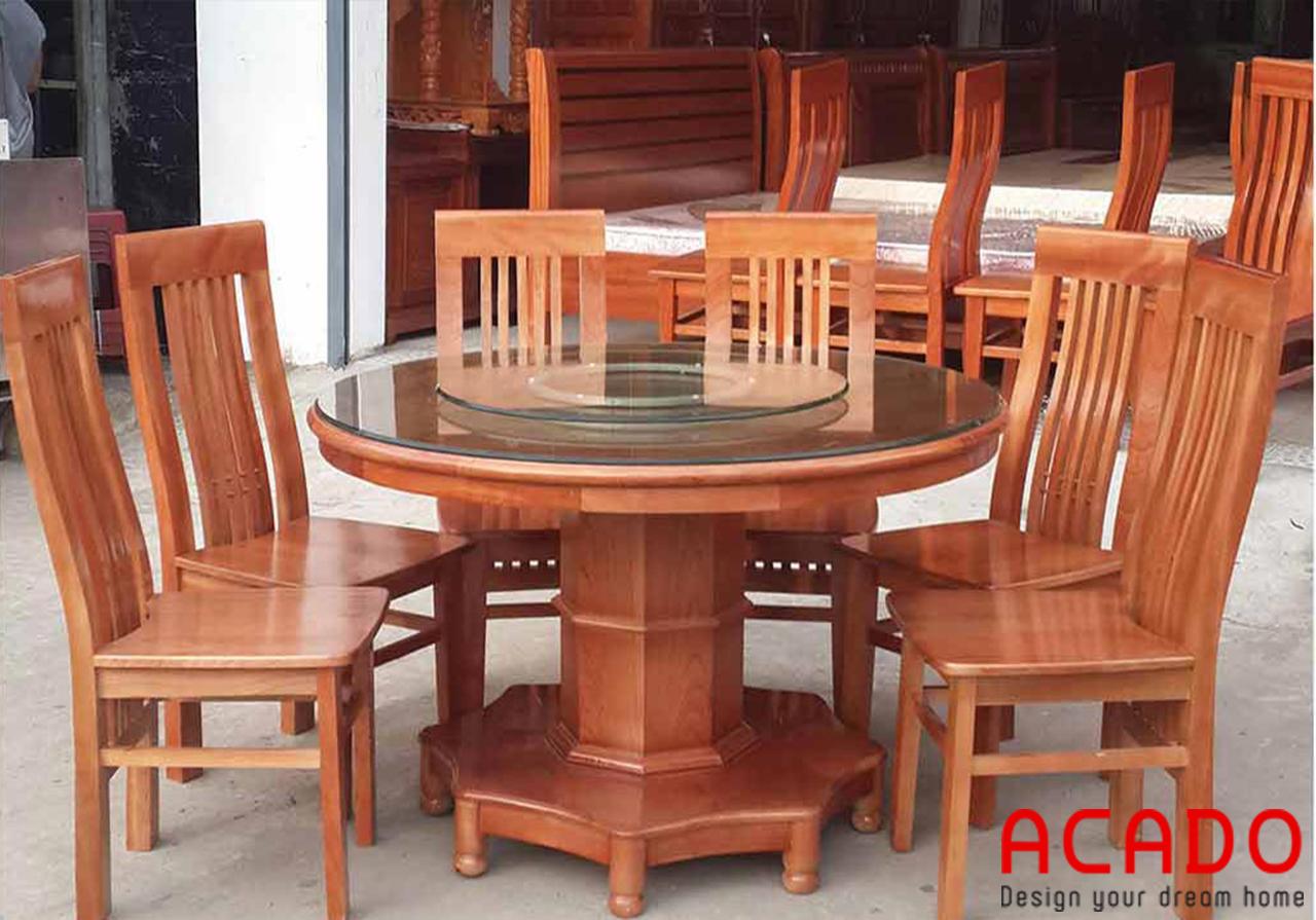 Mẫu bàn ăn tròn 6 ghế được làm từ gỗ xoan đào