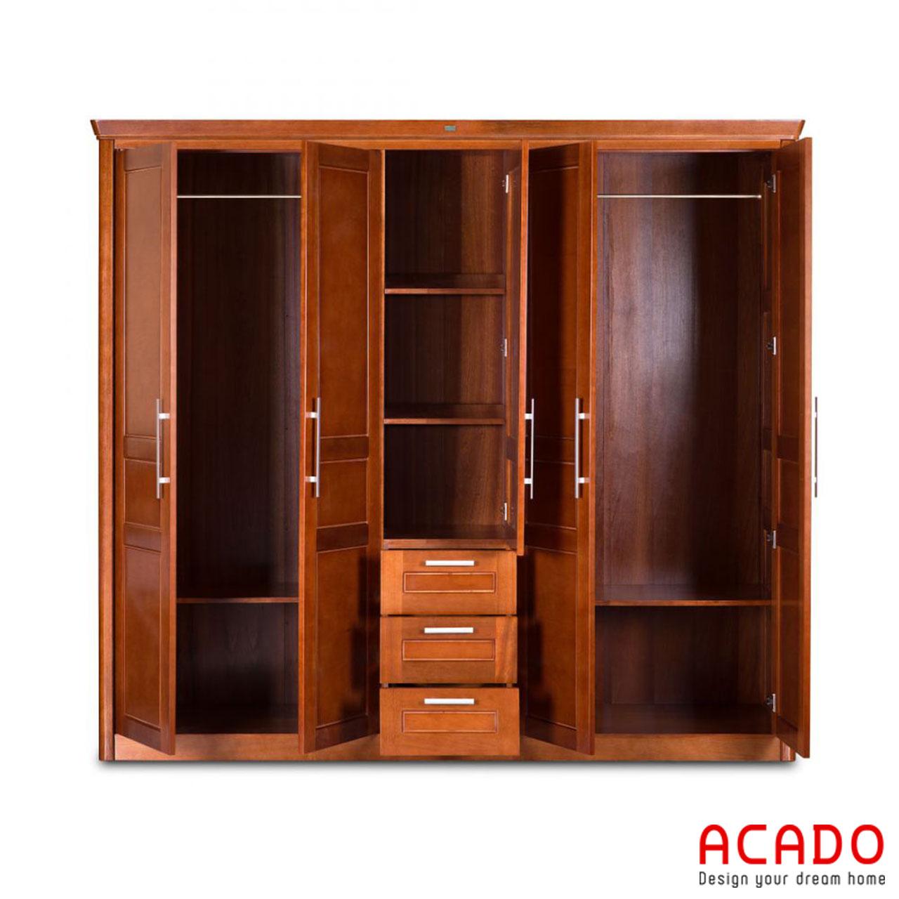 Tủ quần áo gỗ xoan đào tự nhiên thoải mái không gian để đồ cho bạn