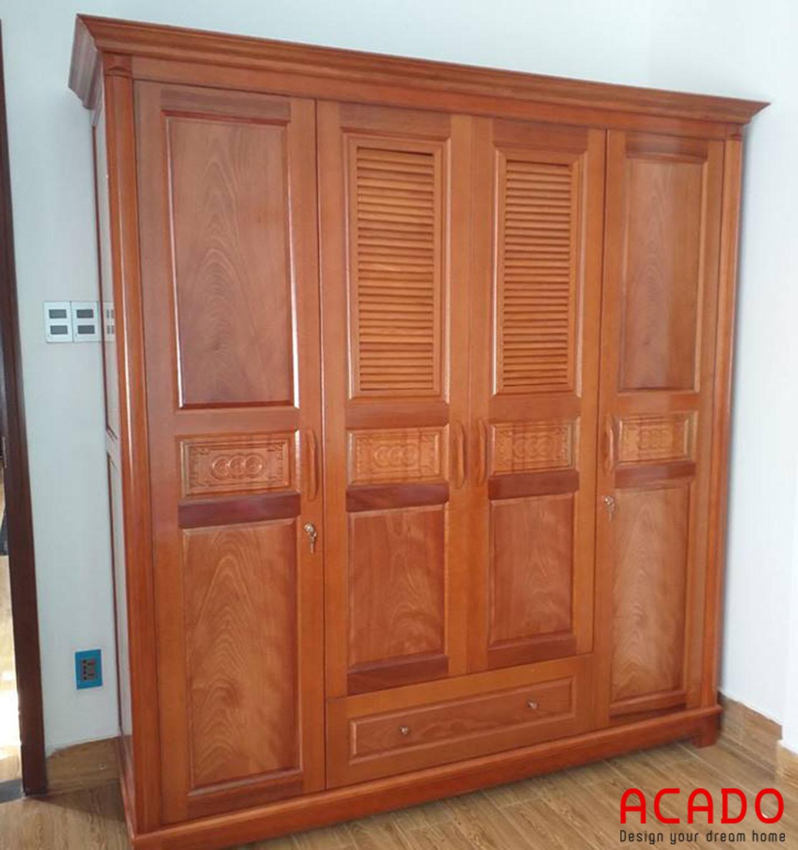 Tủ quần áo gỗ xoan đào màu cánh gián sang trọng