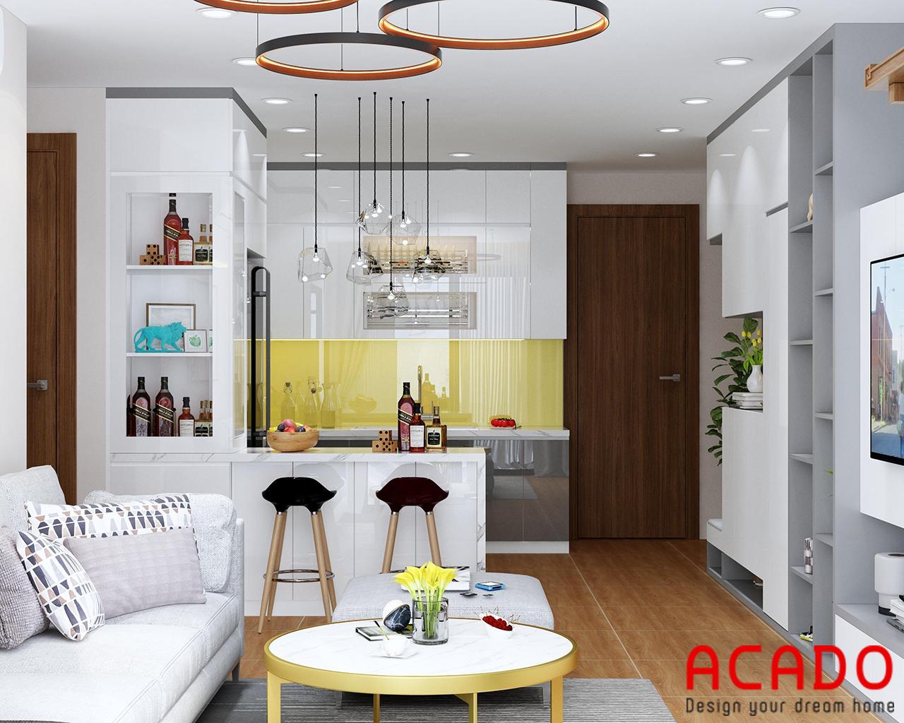 Tủ bếp Melamine hình chữ U ACADO lên thiết kế cho gia đình chị Hoài