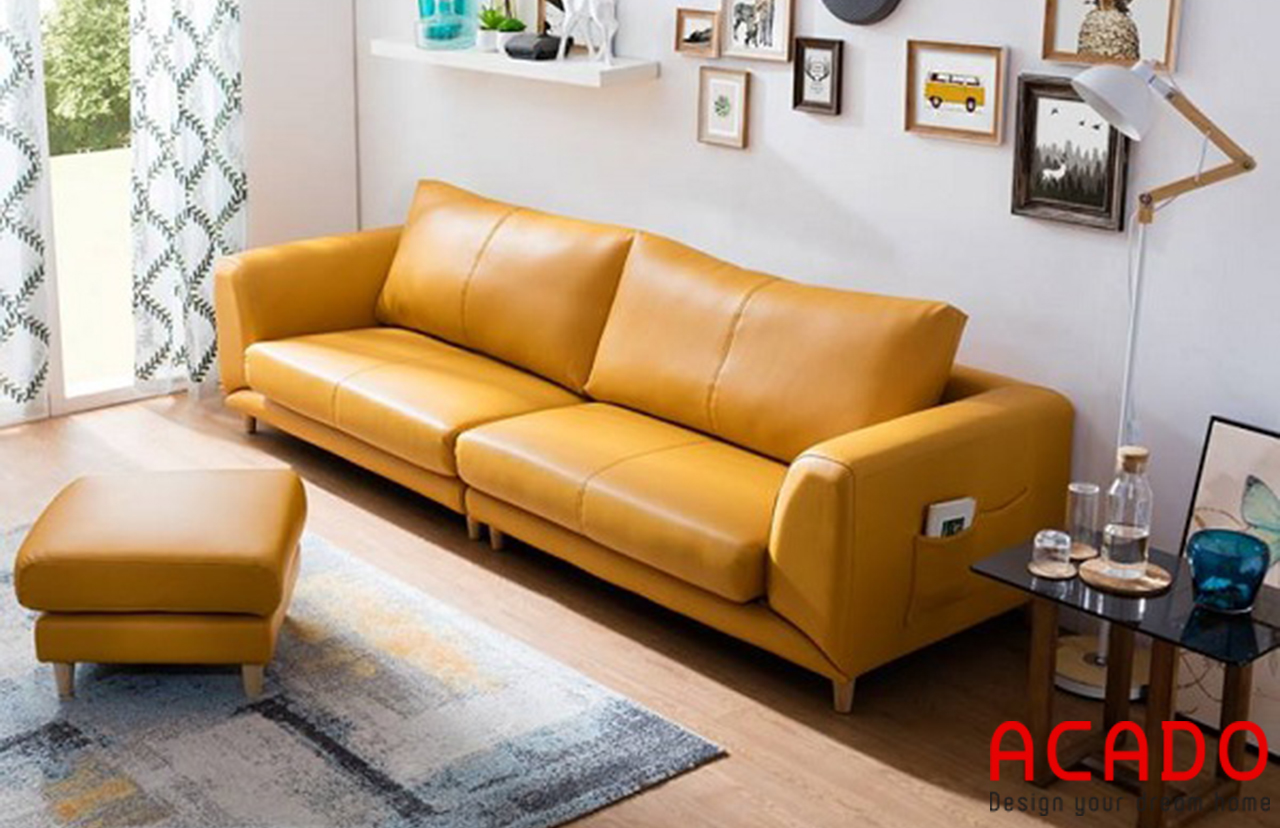 Ghế sofa chất liệu da màu vàng nổi bật, thu hút