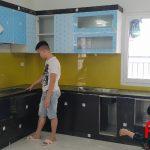 Tủ bếp inox 304 cánh nhựa Acrylic nhà chị Thủy - Thái Hà