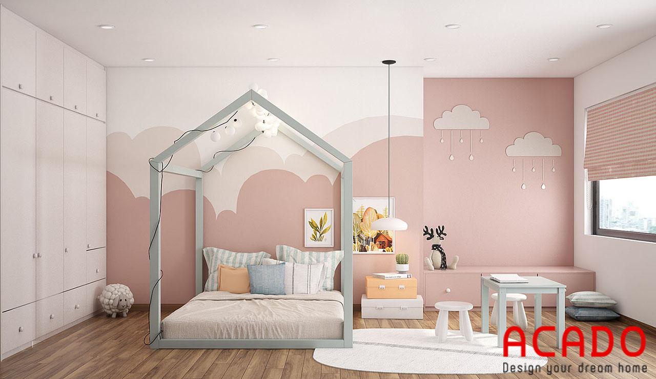 Phòng ngủ cho bé gái siêu dễ thương