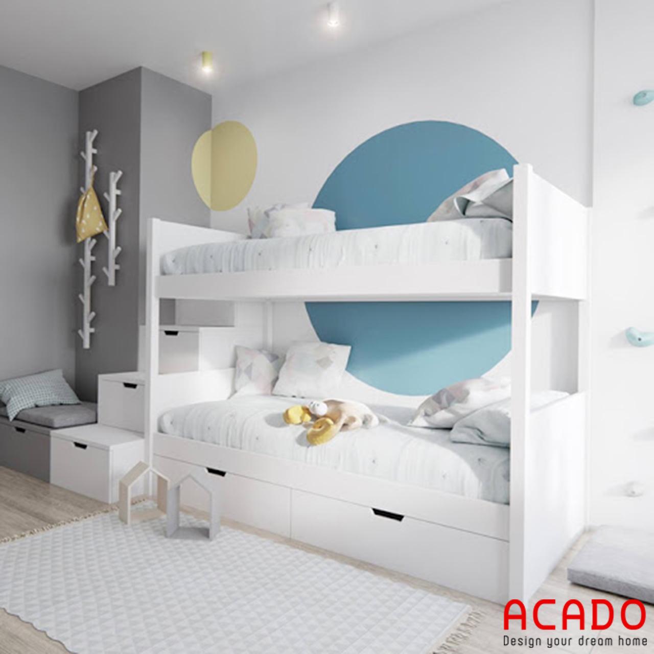 Giường ngủ gỗ công nghiệp Melamin màu trắng trẻ trung, hiện đại