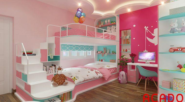 Giường tầng thông minh cho các bé gái yêu thích màu hồng
