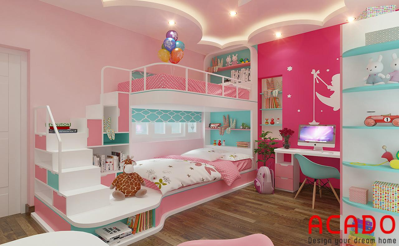Giường tầng màu sắc bắt mắt cho bé gái
