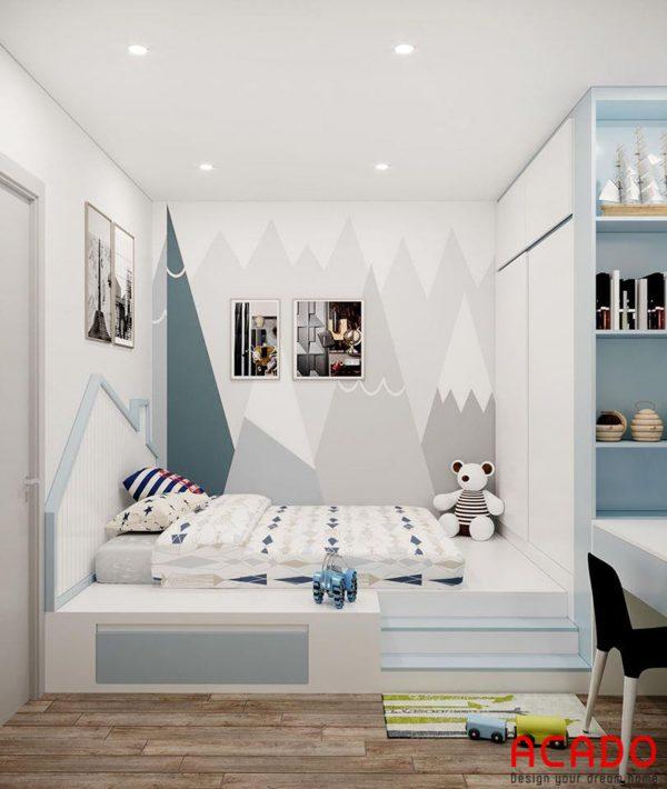 Mẫu giường ngủ trẻ em tone màu xanh trắng tươi sáng
