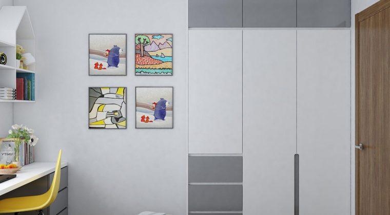 Thiết kế tủ quần áo gỗ công nghiệp phối màu trắng xám mang lại giác hiện đại, trẻ trung cho phòng ngủ
