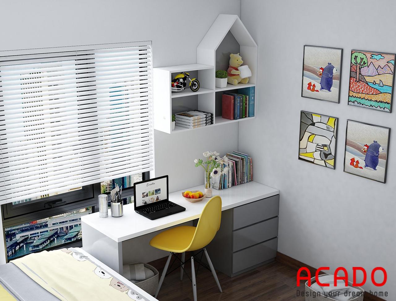 Thiết kế bàn làm việc và giá sách phòng ngủ 01 kiểu dáng hiện đại, trẻ trung