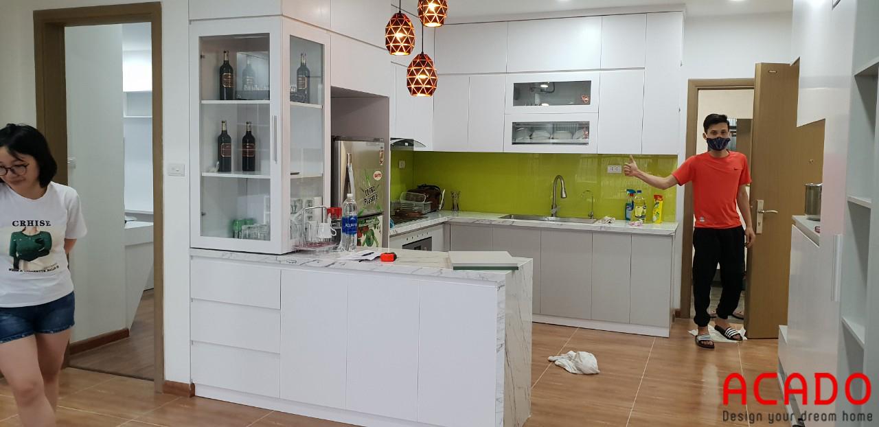 Công trình tủ bếp Melamine An Cường ACADO thi công tại Hà Đông, gia đình chị Hoài