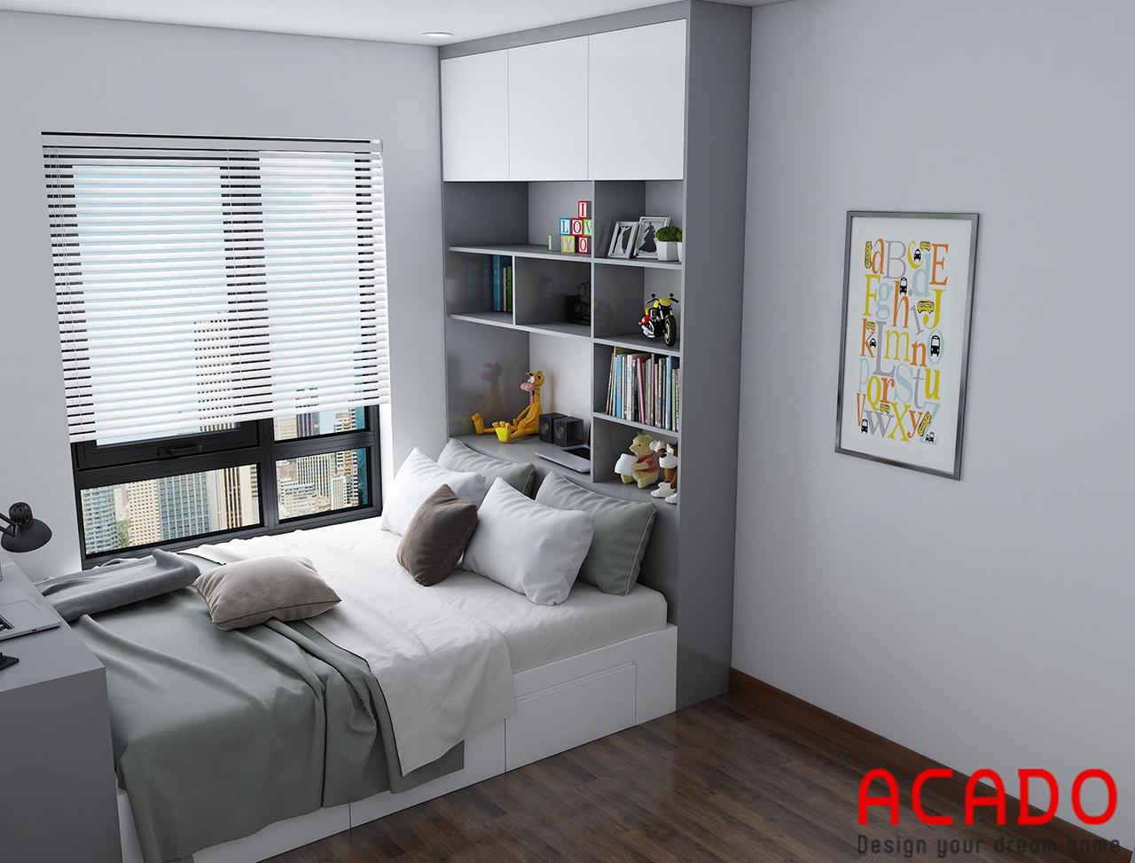 Phía đầu giường có thiết kế thêm tủ để đồ tiện lợi - thiết kế nội thất phòng ngủ 02