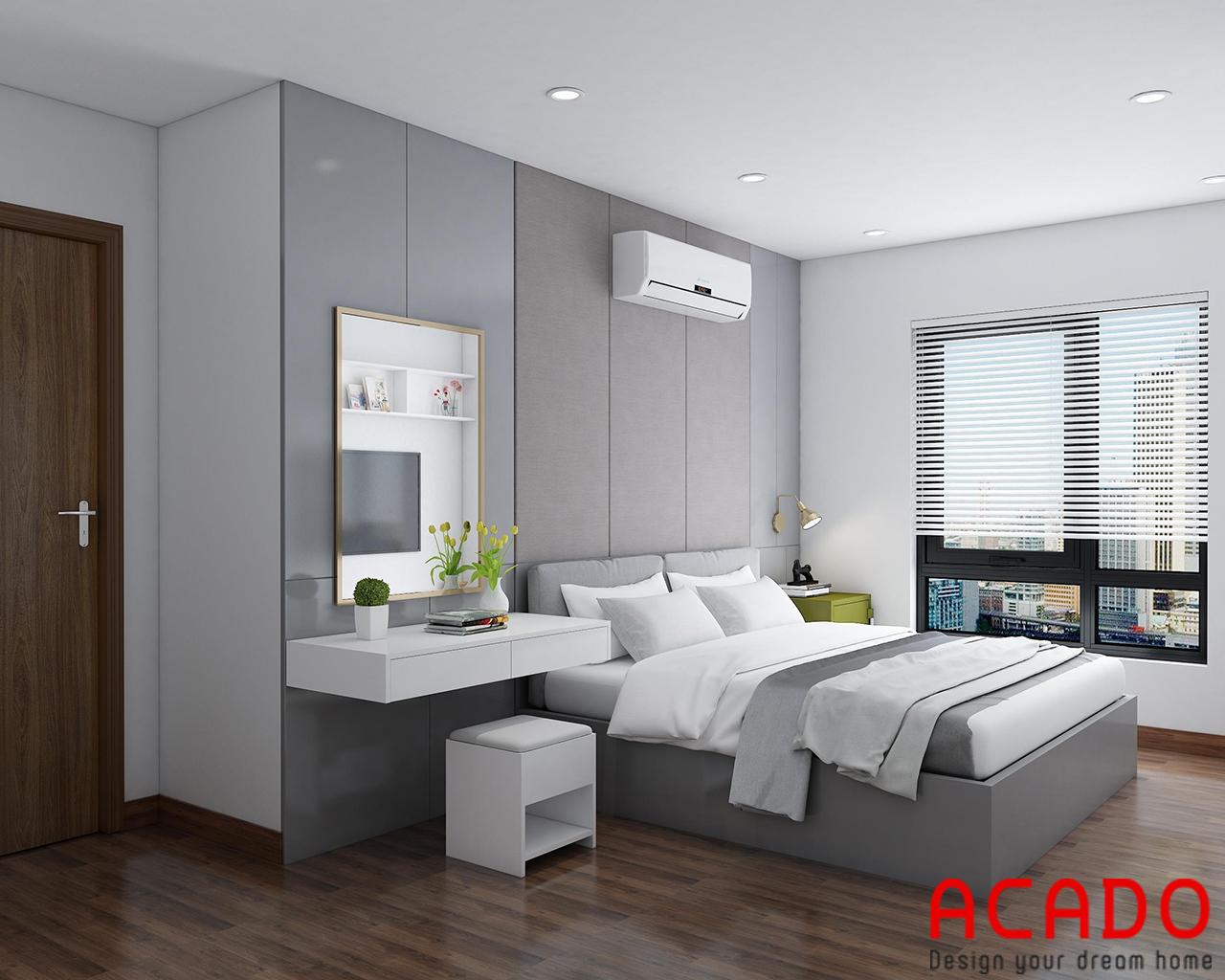 Thiết kế giường ngủ và bàn trang điểm trong phòng ngủ Master