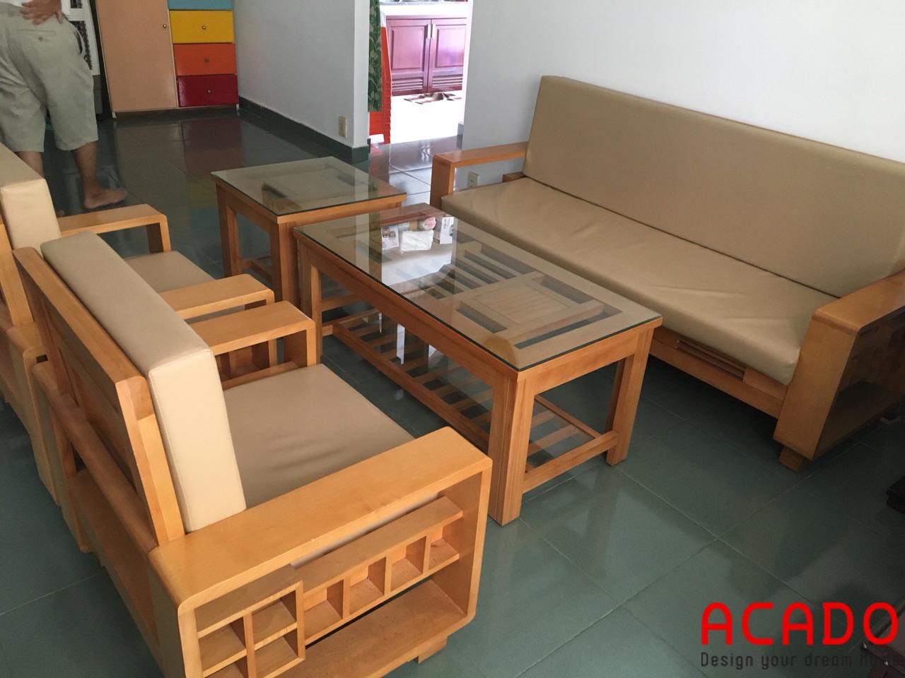 Sofa gỗ sồi Nga có thêm đệm nỉ- sofa đẹp tại nội tất Acado