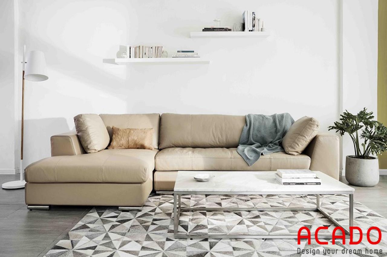 Sofa bọc da êm ái, thoải mái khi sử dụng