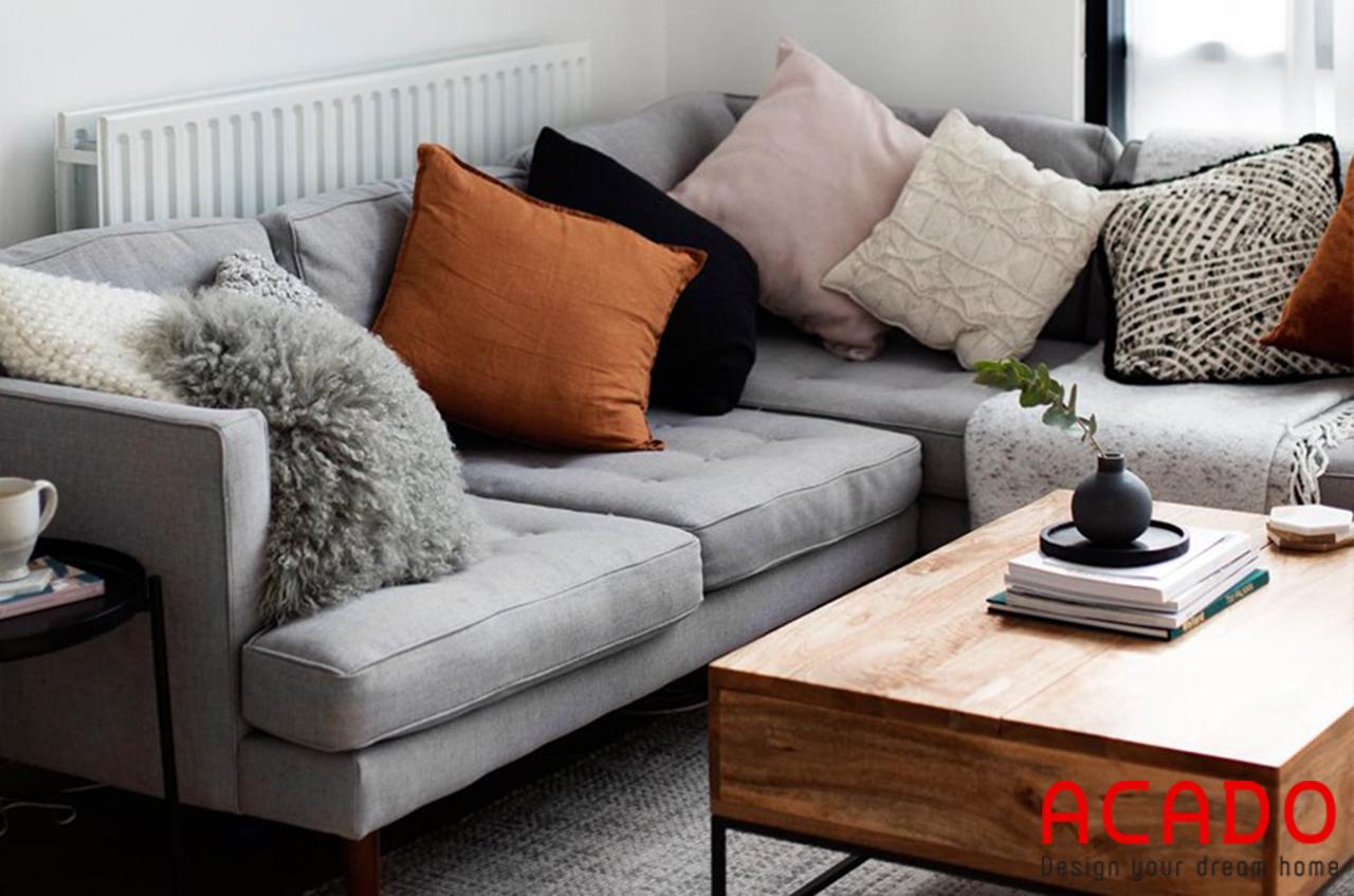 Mẫu sofa nỉ màu ghi sang trọng , trẻ trung cho phòng khách