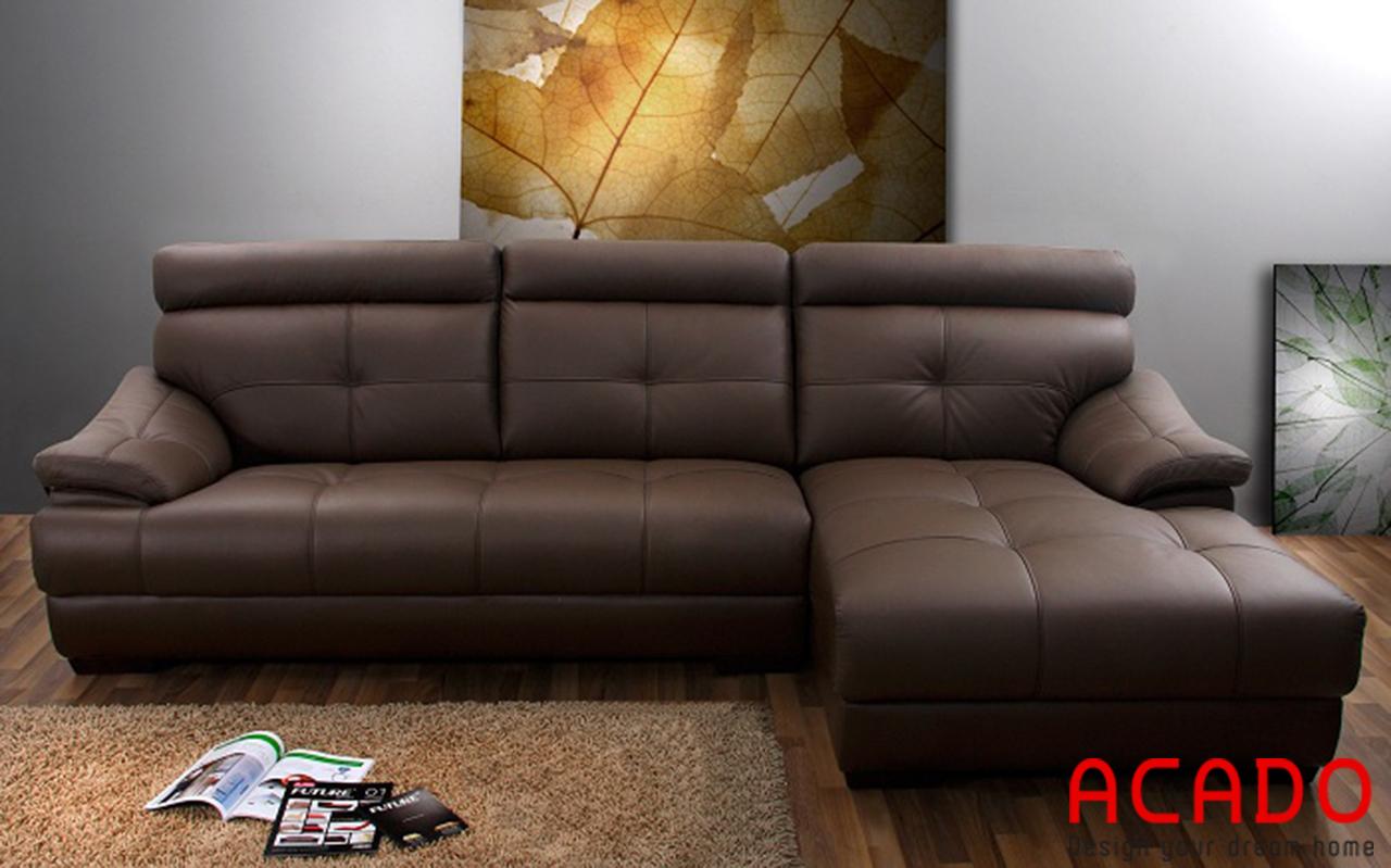 Sofa da màu nâu đất sang trọng cho bạn tham khảo