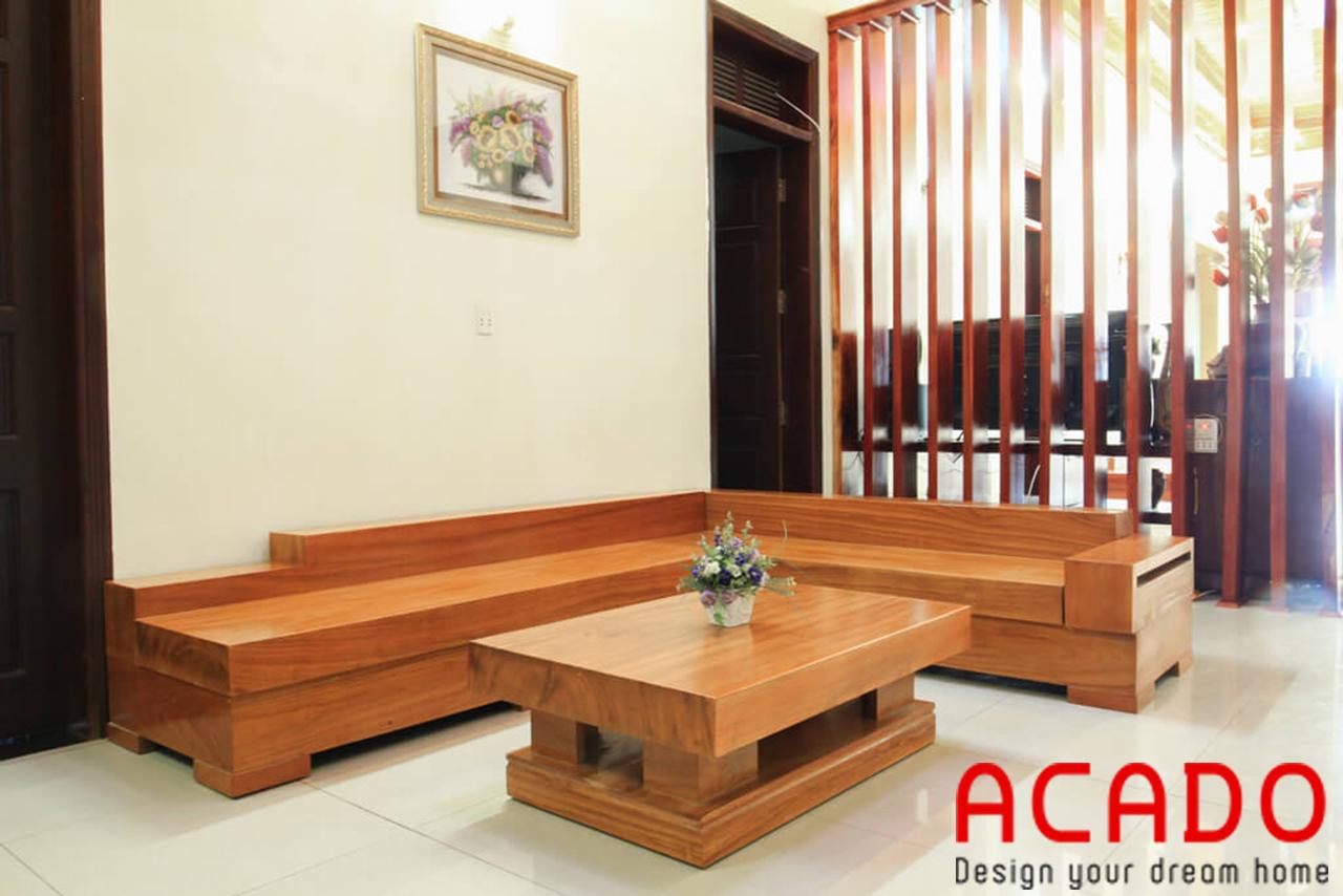 Sofa gỗ sồi Nga màu vàng nhạt trẻ trung, hiện đại