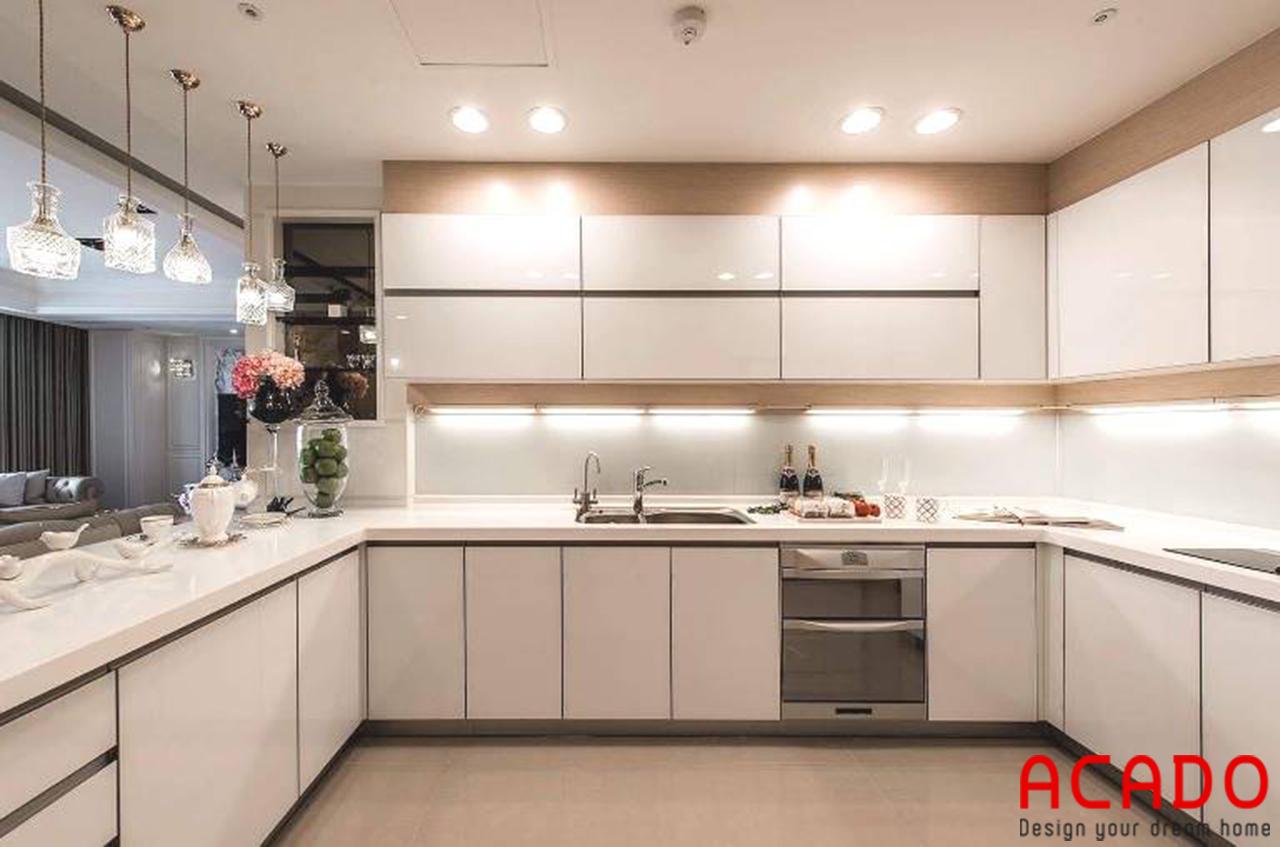 Tủ bếp gỗ công nghiệp Acrylic hiện đại cho không gian bếp