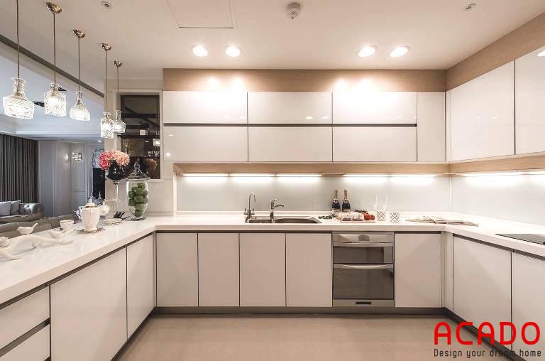Tủ bếp inox kết hợp cánh gỗ công nghiệp hiện đại- ACADO thiết kế và thi công tủ bếp tại Phúc La, Hà Đông