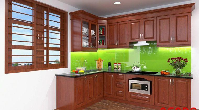 Tủ bếp gỗ xoan đào mang phong cách hiện đại - ACADO.VN