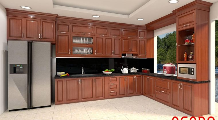 Mẫu tủ bếp gỗ xoan đào chữ L thiết kế lấy ánh sáng từ cửa sổ - hình ảnh tủ bếp gỗ tự nhiên đẹp năm 2020