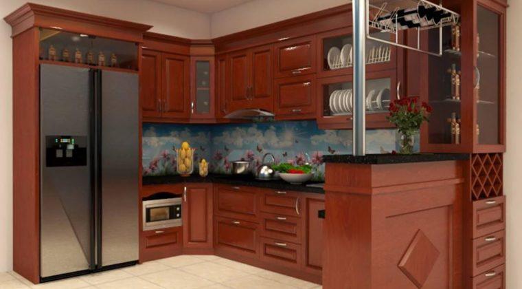 Tủ bếp gỗ xoan đào màu cánh gián đậm thiết kế hiện đại kết hợp quầy bar sang trọng