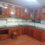 Tủ bếp gỗ xoan đào chữ L - công trình tủ bếp ACADO thi công thực tế tại Hà Đông