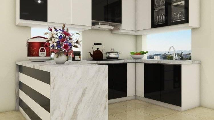 Tủ bếp gỗ công nghiệp trắng đen kết hợp cửa sổ - nội thất ACADO