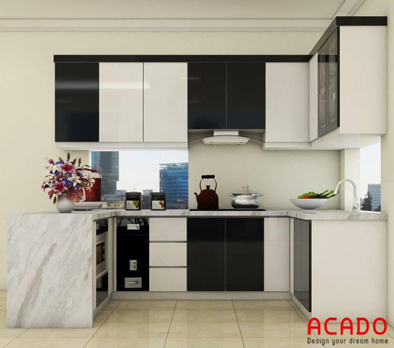 Tủ bếp gỗ công nghiệp Melamine trắng đen kết hợp cửa sổ - nội thất ACADO