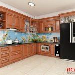 Tủ bếp gỗ xoan đào tự nhiên sử dụng kính bếp 3d làm căn bếp thêm nổi bật, thu hút