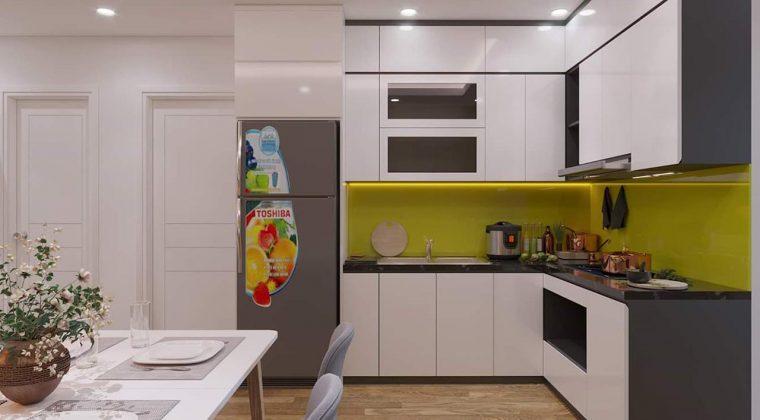 Tủ bếp gỗ công nghiệp trắng sử dụng kính bếp màu vàng hiện đại và trẻ trung