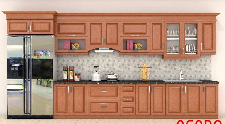 Mẫu tủ bếp gỗ xoan đào chữ I đầy đủ tiện nghi cho căn bếp hiện đại