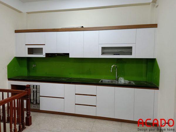 Tủ bếp Melamine thẳng tiết kiệm không gian và diện tích