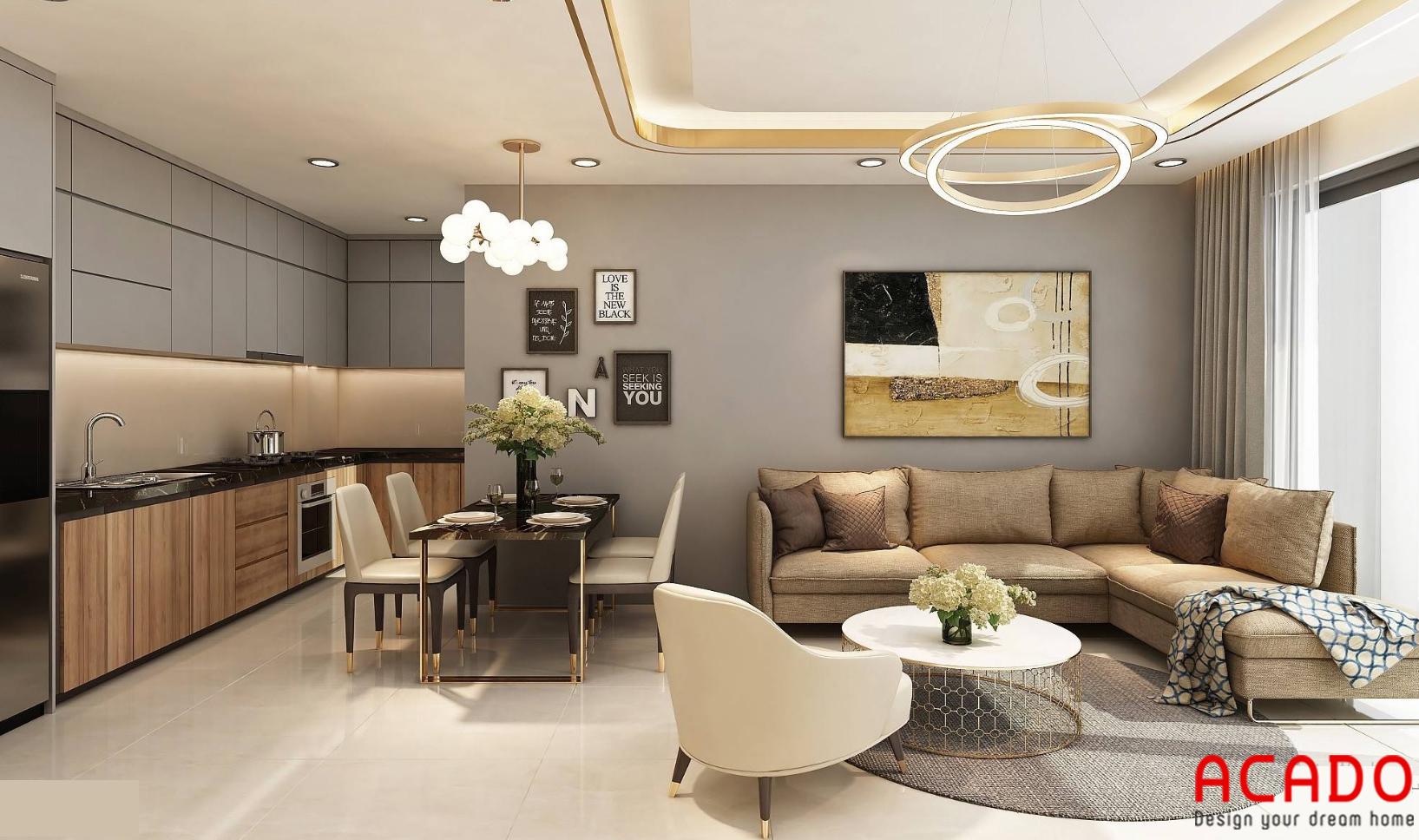 Bộ bàn ăn gọn gàng, phòng khách cùng bộ sofa màu nâu nhạt
