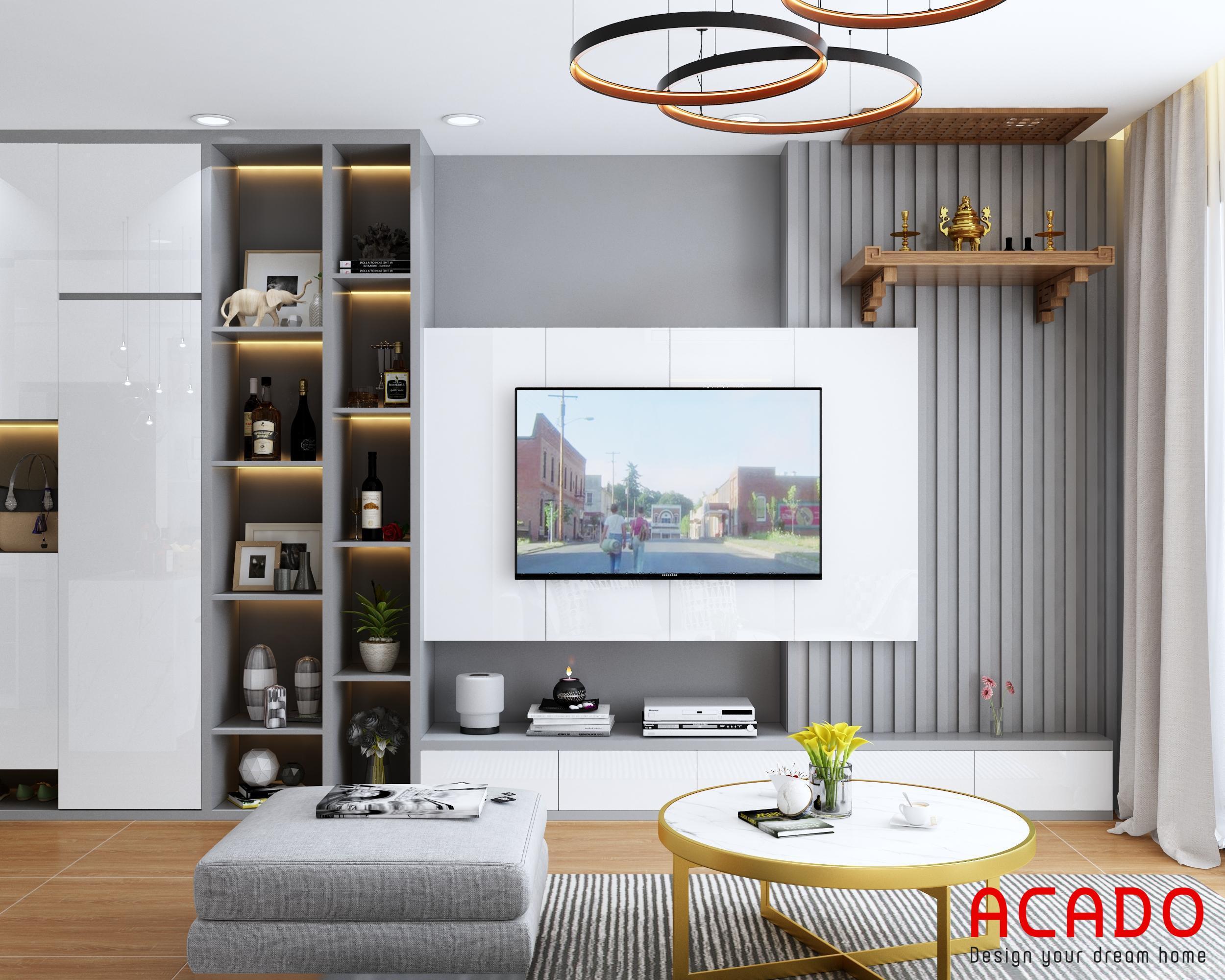 Thiết kế phòng khách hiện đại, kệ tivi treo và tủ trang trí tone màu trắng ghi