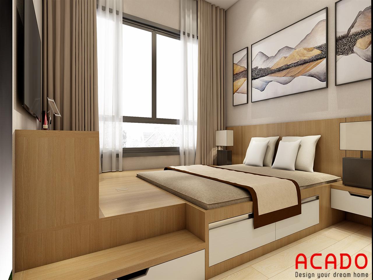 Với các tone màu nhẹ nhàng snag trọng, phòng ngủ tạo cảm giác thoải mái cho người sử dụng