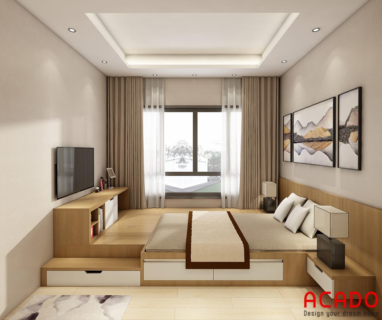 Phòng ngủ chung cư được thiết kế thông minh, hiện đại
