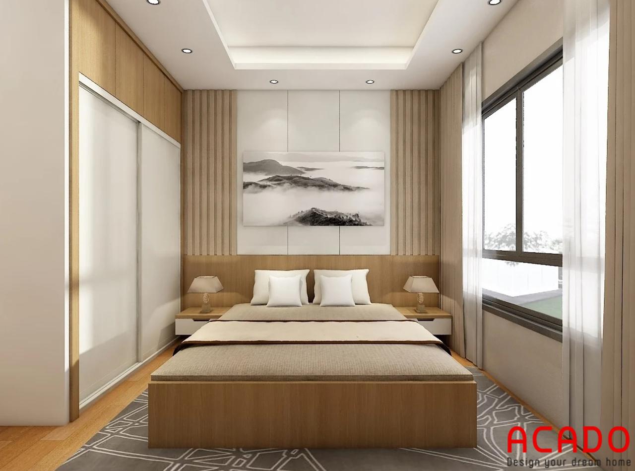 Không gian phòng ngủ được ACADO lên thiết kế sử dụng chất liệu gỗ công nghiệp