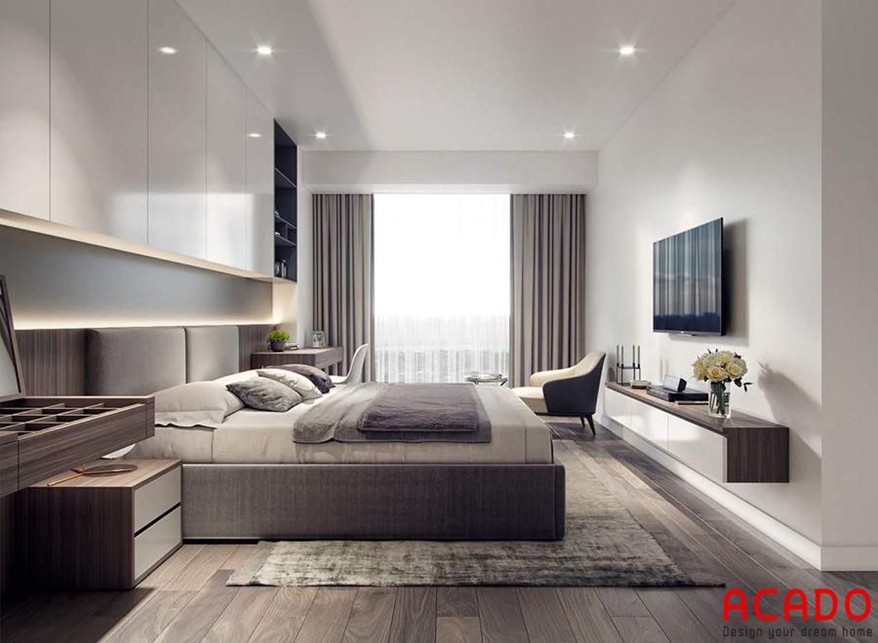Phòng ngủ chính của bố mẹ được thiết kế với gam màu chủ đạo là các màu sáng