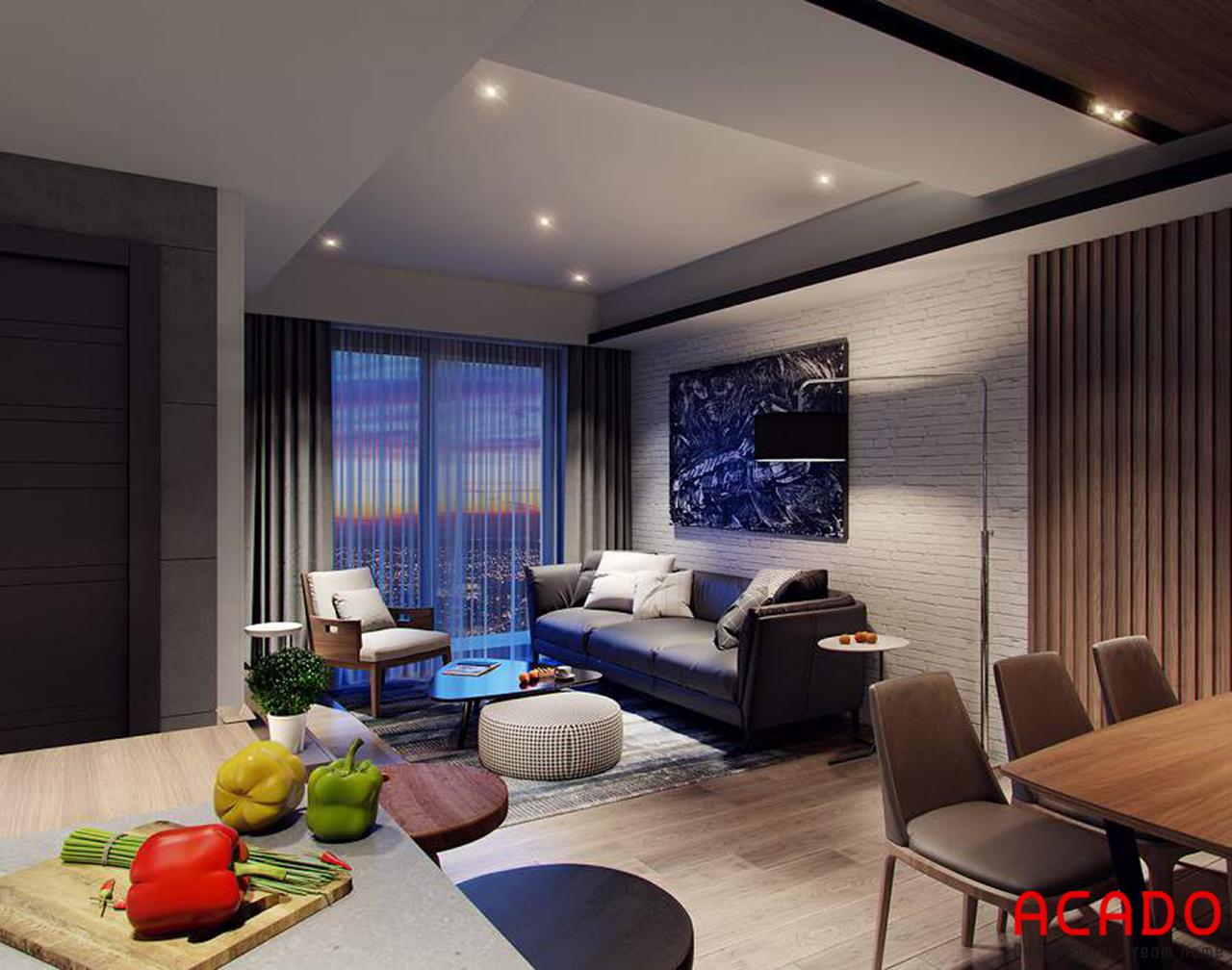 Phòng khách căn hộ chung cư 60m2 được ACADO lên thiết kế đầy đủ tiện nghi với bộ sofa sang trọng