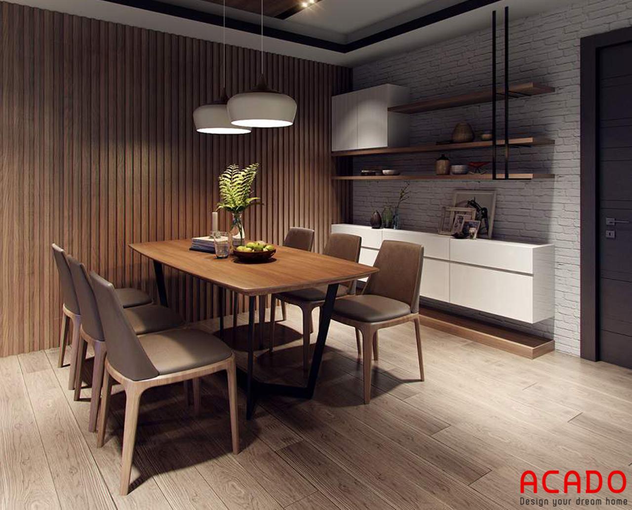 Bộ bàn ăn gọn gàng, thiết kế nội thất chung cư 60m2 - nội thất ACADO