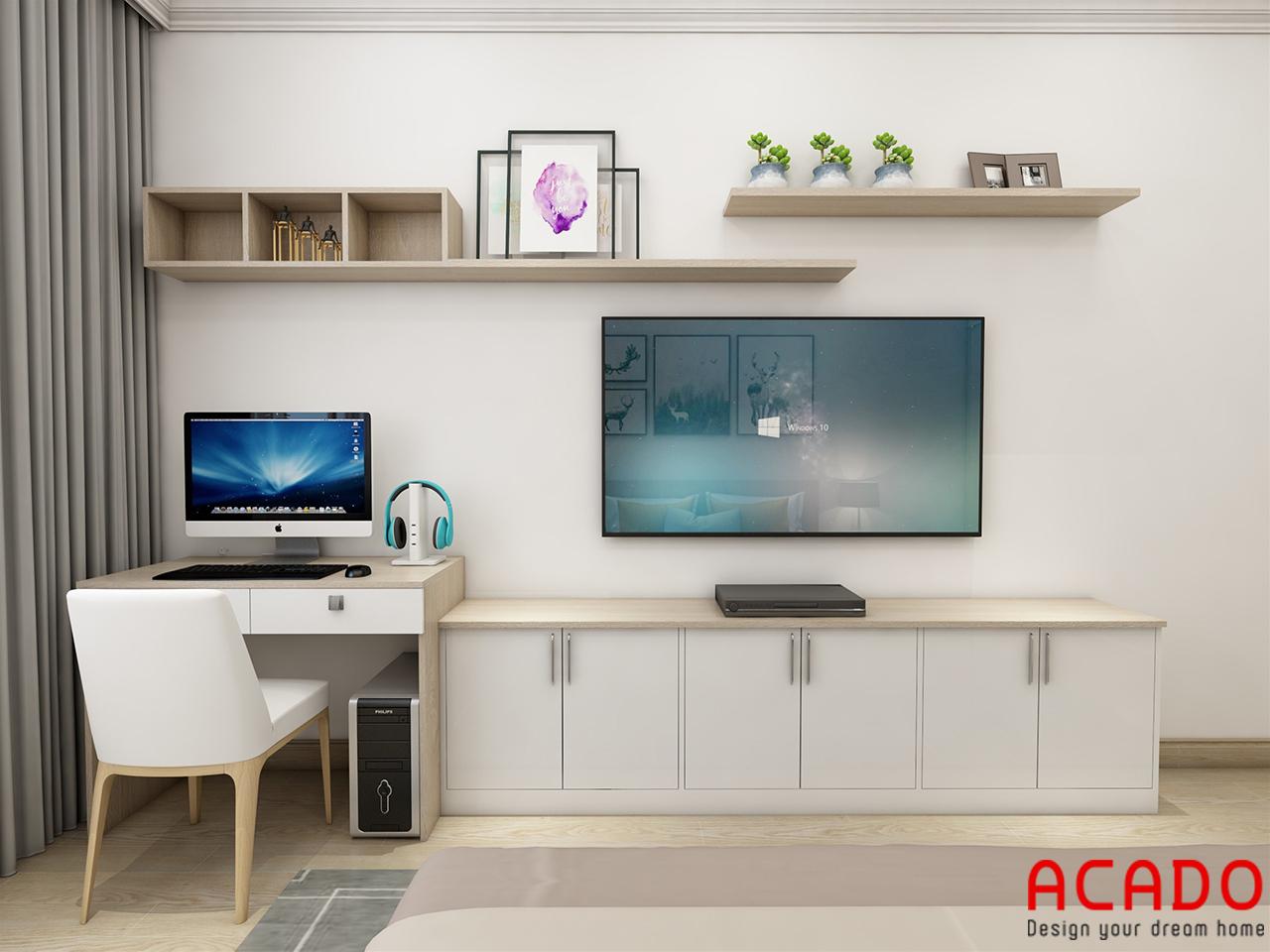 Bố trí kệ tivi và bàn làm việc trong phòng ngủ