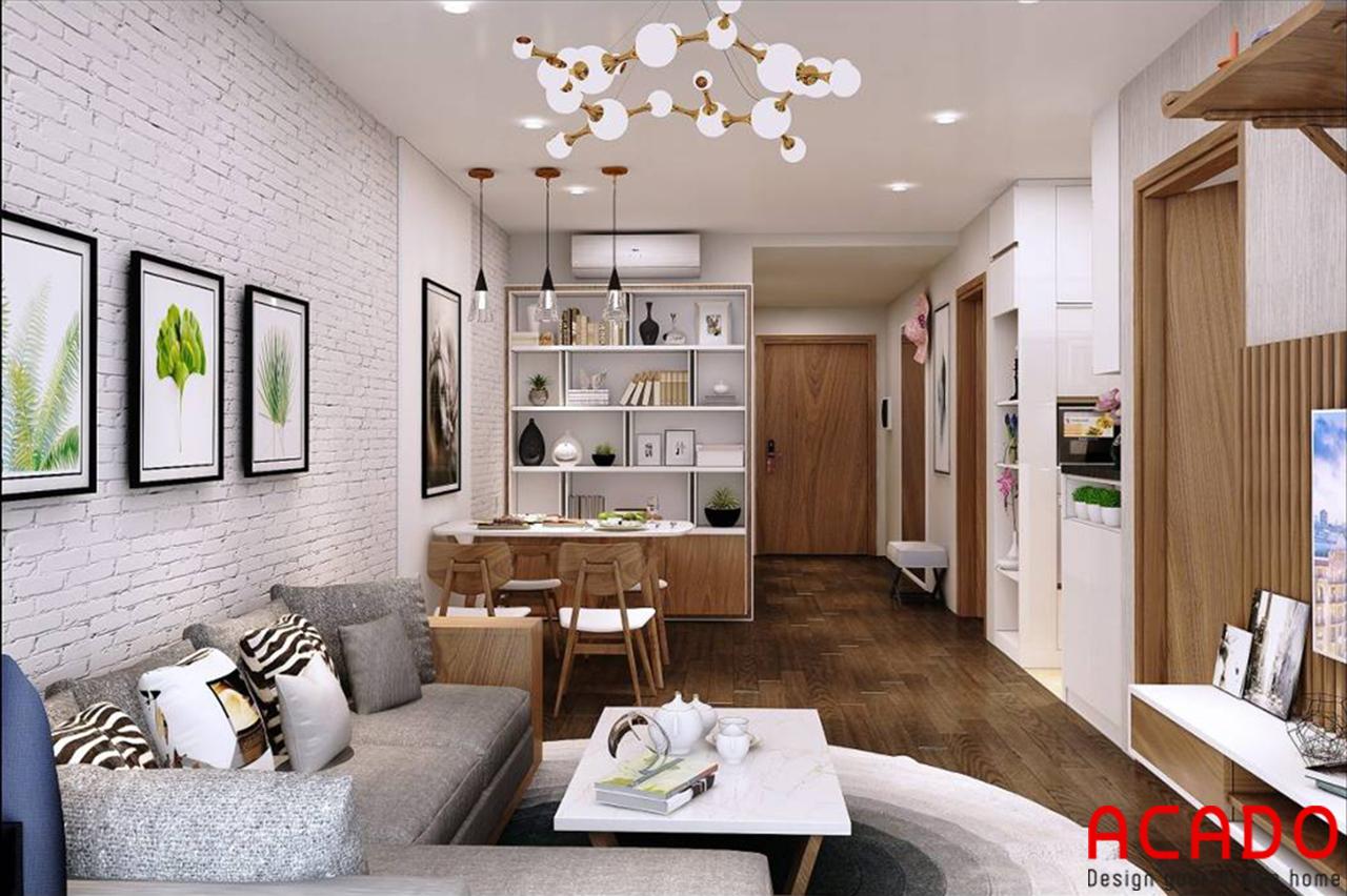 Phòng khách bố trí các đồ nội thất gọn gàng, ngăn nắp tiết kiệm diện tích không gian